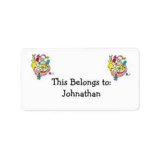 cartoon aliens and bunnies funny vector address label