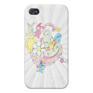 cartoon aliens and bunnies funny vector iPhone 4/4S cover