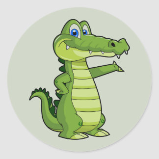 Cartoon Alligator Background Classic Round Sticker