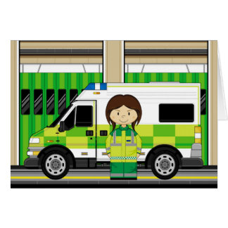 Cartoon Ambulance and EMT Card