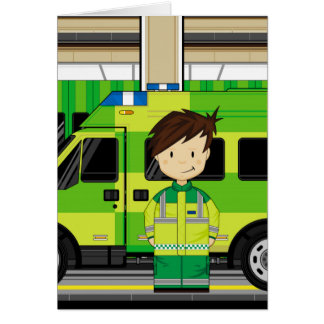 Cartoon Ambulance and EMT Greeting Card