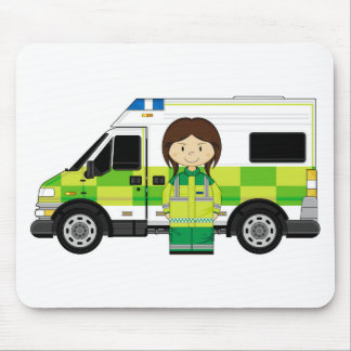 Cartoon Ambulance and EMT Mouse Pad