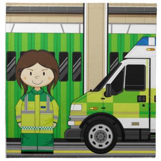 Cartoon Ambulance and EMT Napkin