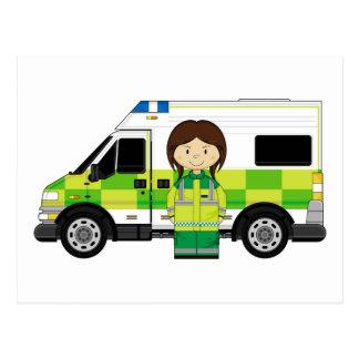Cartoon Ambulance and EMT Postcard