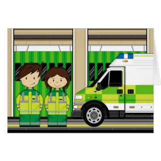 Cartoon Ambulance and EMT's Card
