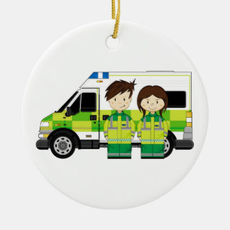 Cartoon Ambulance and EMT's Christmas Ornament