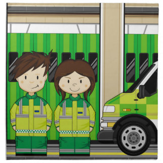 Cartoon Ambulance and EMT's Napkin