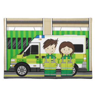 Cartoon Ambulance and EMT's Placemat