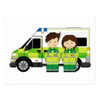 Cartoon Ambulance and EMT's Postcard