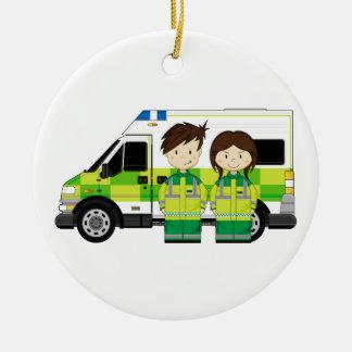 Cartoon Ambulance and EMT's Round Ceramic Decoration
