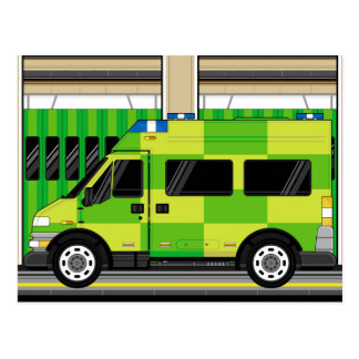 Cartoon Ambulance Postcard