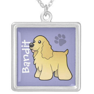 Cartoon American Cocker Spaniel (add pets name) Silver Plated Necklace