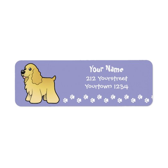 Cartoon American Cocker Spaniel Return Address Label