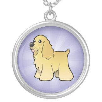 Cartoon American Cocker Spaniel Silver Plated Necklace