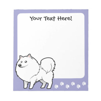 Cartoon American Eskimo Dog / German Spitz Notepad