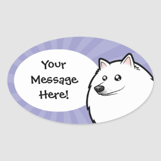 Cartoon American Eskimo Dog / German Spitz Oval Sticker