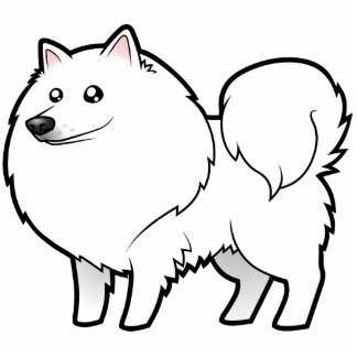 Cartoon American Eskimo Dog / German Spitz Photo Sculpture Magnet