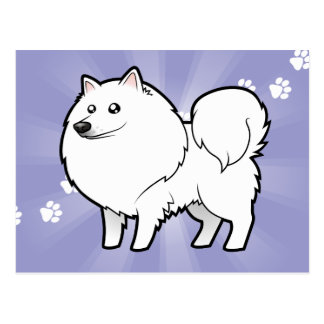Cartoon American Eskimo Dog / German Spitz Postcard