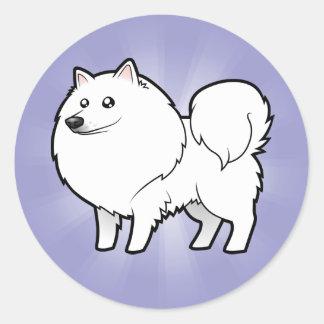 Cartoon American Eskimo Dog / German Spitz Round Sticker