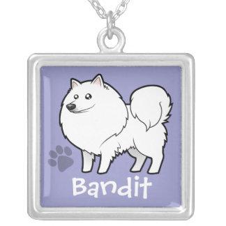 Cartoon American Eskimo Dog / German Spitz Silver Plated Necklace