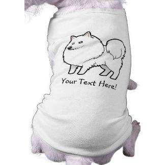 Cartoon American Eskimo Dog / German Spitz Sleeveless Dog Shirt