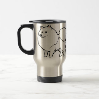 Cartoon American Eskimo Dog / German Spitz Travel Mug