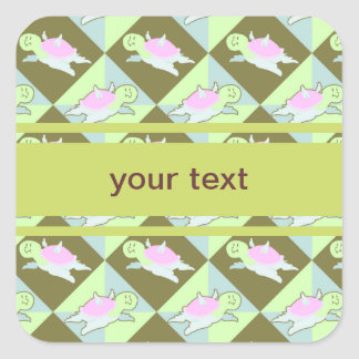 Cartoon Angel Turtle Pattern Square Stickers
