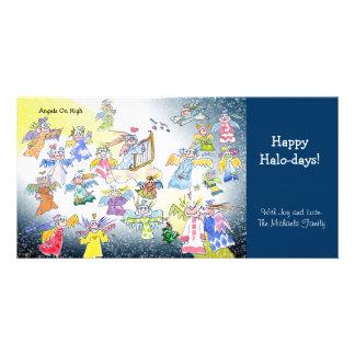 Cartoon Angels On High Holiday Photo Card