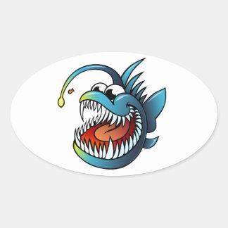 Cartoon Angler Fish Oval Sticker