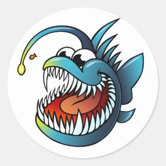 Cartoon Angler Fish Round Sticker