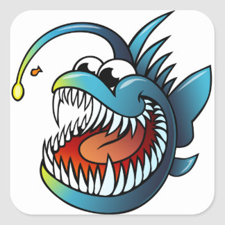 Cartoon Angler Fish Square Sticker