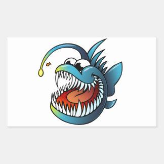 Cartoon Angler Fish Rectangle Stickers