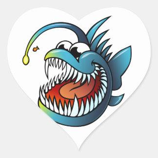 Cartoon Angler Fish Heart Sticker