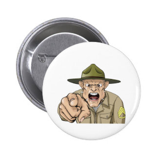 Cartoon angry army drill sergeant shouting 6 cm round badge
