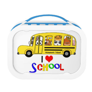 Cartoon Animal School Bus I Heart School Lunch Box