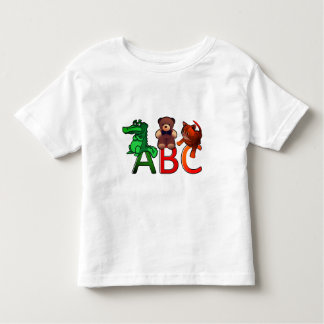 Cartoon Animals ABC Alphabet Print Toddler T-Shirt