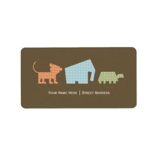 Cartoon Animals Address Label