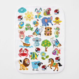 cartoon animals burp cloth