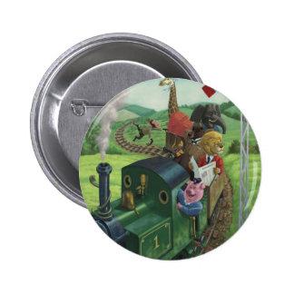 cartoon animals enjoying a train journey 6 cm round badge