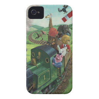 cartoon animals enjoying a train journey Case-Mate iPhone 4 case