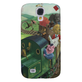 cartoon animals enjoying a train journey galaxy s4 case
