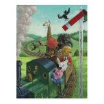 cartoon animals enjoying a train journey post card