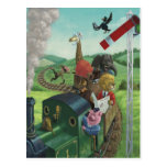 cartoon animals enjoying a train journey postcard