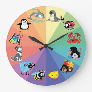 cartoon animals for kids large clock