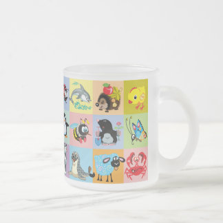 cartoon animals for kids frosted glass mug