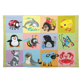 cartoon animals for kids placemat