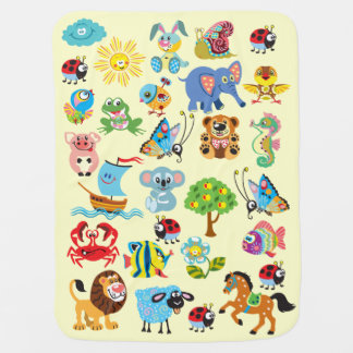 cartoon animals for kids pram blanket