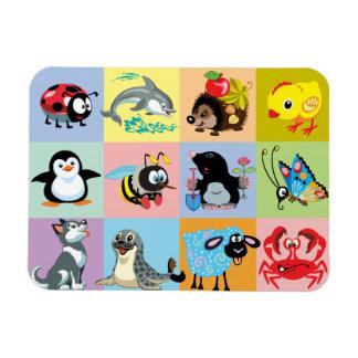 cartoon animals for kids rectangular photo magnet