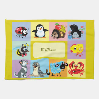 cartoon animals for kids tea towel