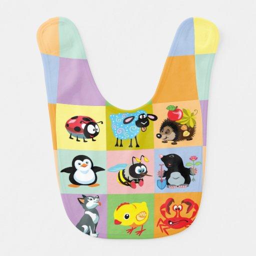 cartoon animals for kids bibs